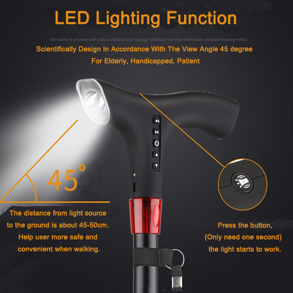 Led lighting intelligent multi-functional electronic cane